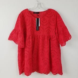 Zanzea Red Eyelet Cotton Blouse Size XL NWT